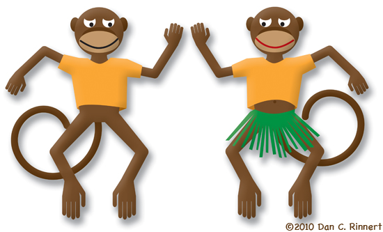 Dancing Monkeys Wearing Shirts that are Orange
