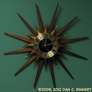 Elgin Starburst Clock - Dark Teal Wall